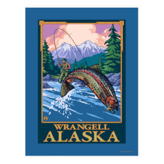 Carte Postale Scène de pêche de mouche - Wrangell, Alaska