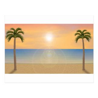 Carte Postale Scène de plage de coucher du soleil :