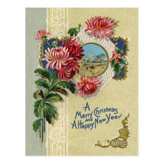 Carte Postale Scène florale de Bethlehem de Noël