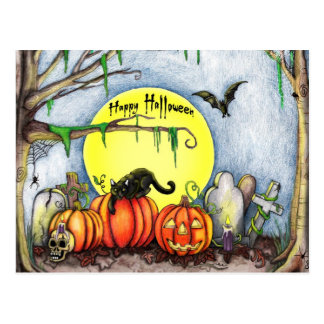 Carte Postale Scène heureuse de cimetière de Halloween