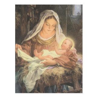 Carte Postale Scène Mary de nativité de Noël et bébé Jésus