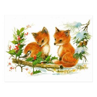 Carte Postale Scène mignonne de Noël de Fox de cru