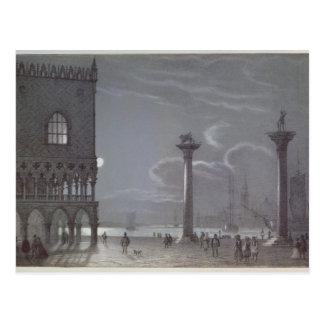 Carte Postale Scène nocturne de Palazzo Ducale et les deux Colu