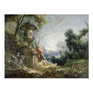 Carte Postale Scène pastorale, ou jeune berger dans un paysage