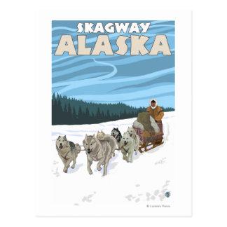 Carte Postale Scène Sledding de chien - Skagway, Alaska