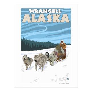 Carte Postale Scène Sledding de chien - Wrangell, Alaska