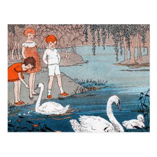 Carte Postale Scène vintage de lac children de cygnes