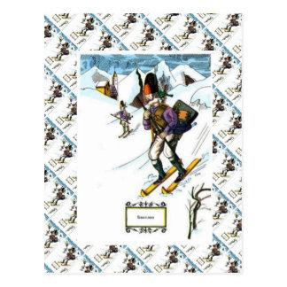 Carte Postale Scène vintage de ski, ski alpin