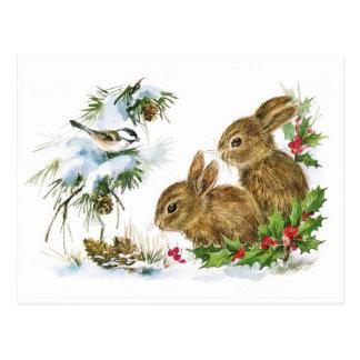 Carte Postale Scène vintage mignonne de Noël de lapins
