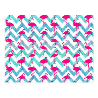 Carte Postale Scintillement turquoise Chevron de flamants au