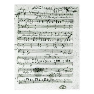 Carte Postale Score manuscrit pour le 'Hektors trouvé Abschied