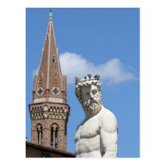 Carte Postale sculpture de Neptune sur Fontana di Nettuno