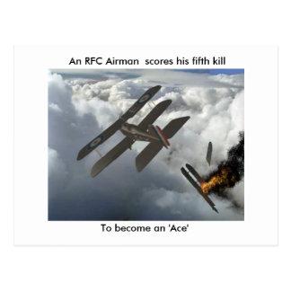 Carte Postale Se5a tue DFW, scores d'un aviateur de RFC son