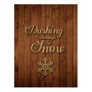 Carte Postale Se précipiter par la neige