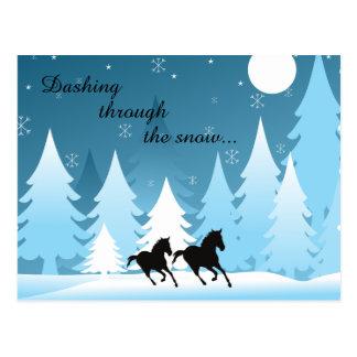 Carte Postale Se précipiter par Noël de vacances de cheval de ~
