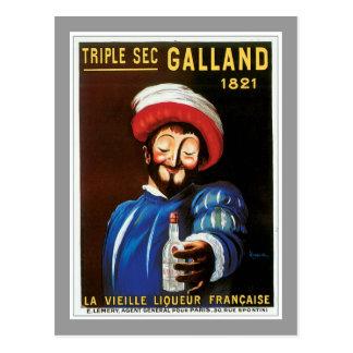 Carte Postale Sec triple Galland 1821 arts vintages d'annonce de