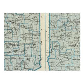 Carte Postale Secteurs juridiques Indiana de districts