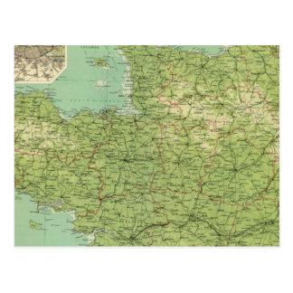 Carte Postale Section du nord-ouest de la France, environs de