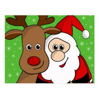 Carte Postale Sefie de Père Noël et de Rudolph