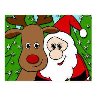 Carte Postale Selfie de Père Noël et de Rudolph