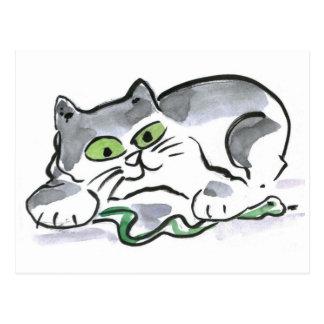Carte Postale Serpent de jardin et le chaton curieux