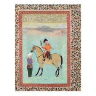 Carte Postale Shah Abbas sur un cheval tenant un faucon