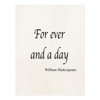 Carte Postale Shakespeare a personnalisé la citation pour jamais