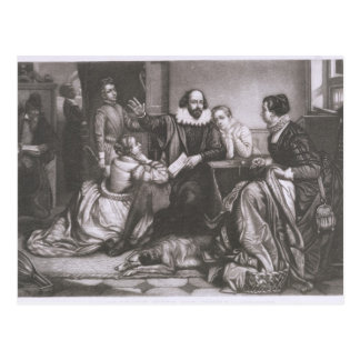 Carte Postale Shakespeare avec sa famille, chez Stratford,