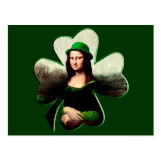 Carte Postale Shamrock de jour de Mona Lisa St Patrick chanceux