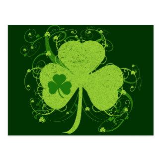 Carte Postale Shamrock irlandais vert