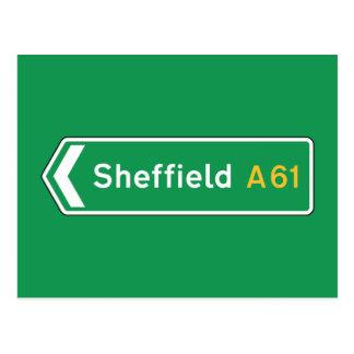 Carte Postale Sheffield, panneau routier BRITANNIQUE