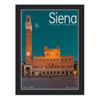 Carte Postale Sienne - nuit de Palazzo Pubblico