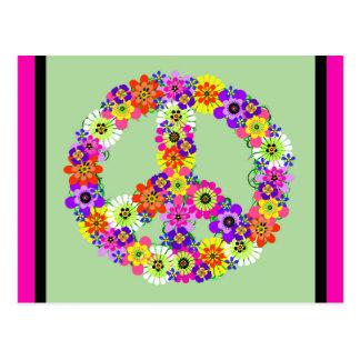 Carte Postale Signe de paix floral avec la frontière fuchsia et
