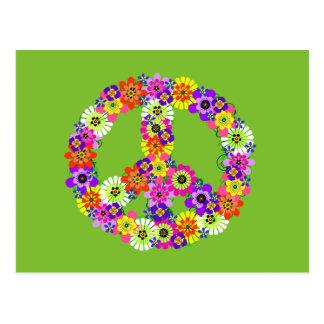 Carte Postale Signe de paix floral sur le vert de chaux