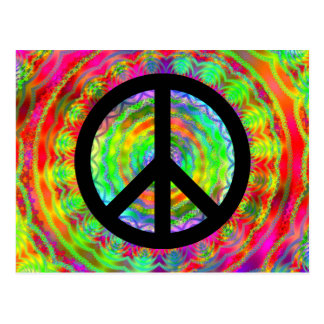 Carte Postale Signe de paix noir génial