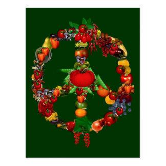 Carte Postale Signe de paix végétarien