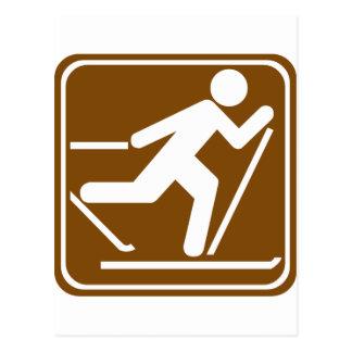 Carte Postale Signe de route de ski de pays croisé