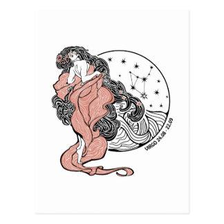 Carte Postale Signe de zodiaque de Vierge. Cercle d'horoscope