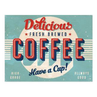 Carte Postale Signe vintage - café préparé frais