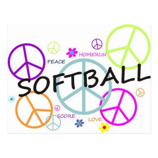 Carte Postale Signes de paix colorés par base-ball