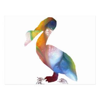 Carte Postale Silhouette abstraite de pélican
