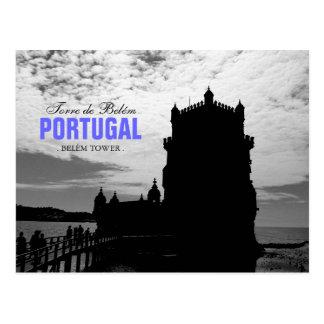 Carte Postale Silhouette blanche noire 2 % pipe% Torre Belem de