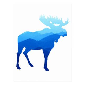 Carte Postale Silhouette bleue d'orignaux de montagnes