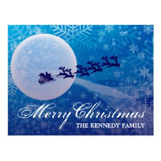 Carte Postale Silhouette de Père Noël et de renne