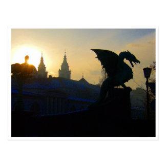 Carte Postale silhouette de pont de dragon