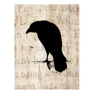 Carte Postale Silhouette de Raven - rétro Ravens vintage et