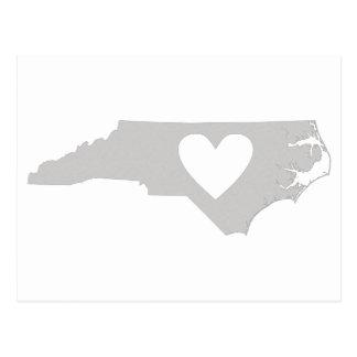 Carte Postale Silhouette d'état de la Caroline du Nord de coeur