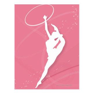 Carte Postale Silhouette d'un gymnaste féminin exécutant avec a