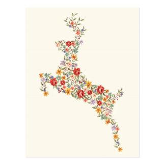Carte Postale Silhouette florale de cerfs communs de ressort