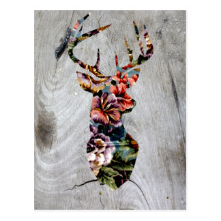 Carte Postale Silhouette florale vintage de tête de cerfs